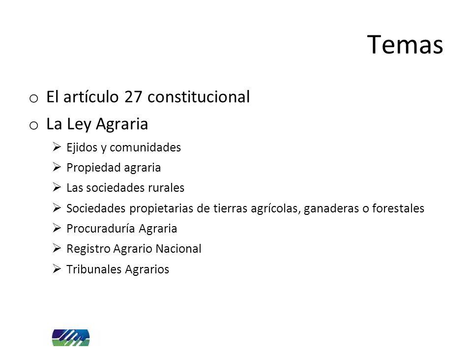 Temas o El artículo 27 constitucional o La Ley Agraria Ejidos y comunidades Propiedad agraria Las sociedades rurales Sociedades propietarias de tierras agrícolas, ganaderas o forestales Procuraduría Agraria Registro Agrario Nacional Tribunales Agrarios