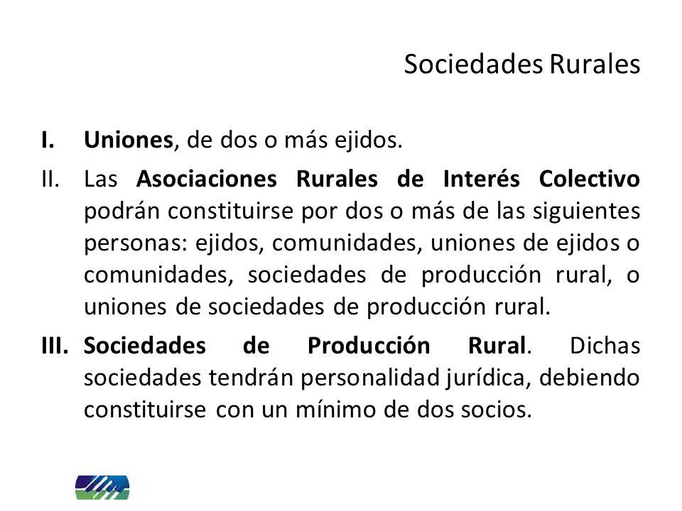 I.Uniones, de dos o más ejidos. II.Las Asociaciones Rurales de Interés Colectivo podrán constituirse por dos o más de las siguientes personas: ejidos,