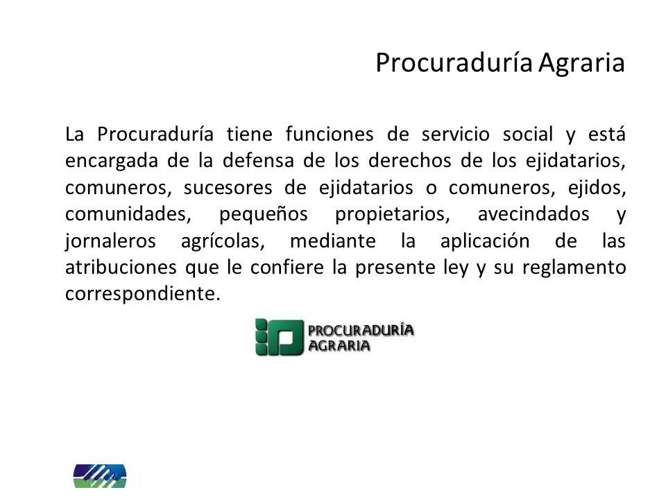 Procuraduría Agraria La Procuraduría tiene funciones de servicio social y está encargada de la defensa de los derechos de los ejidatarios, comuneros,