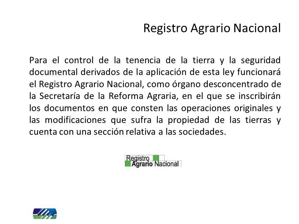 Registro Agrario Nacional Para el control de la tenencia de la tierra y la seguridad documental derivados de la aplicación de esta ley funcionará el R