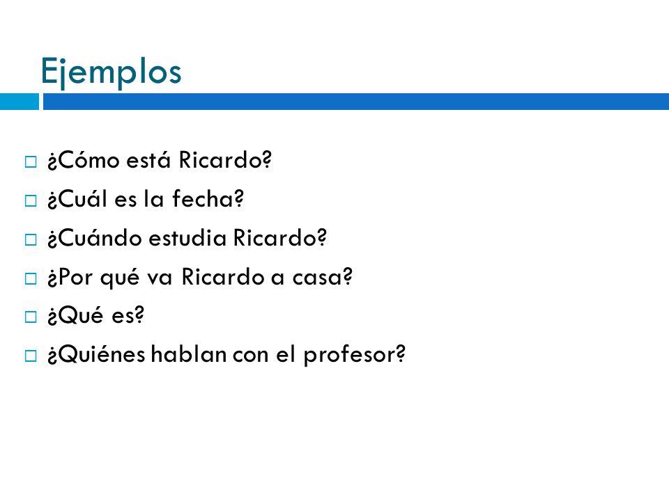 Ejemplos ¿Cómo está Ricardo? ¿Cuál es la fecha? ¿Cuándo estudia Ricardo? ¿Por qué va Ricardo a casa? ¿Qué es? ¿Quiénes hablan con el profesor?