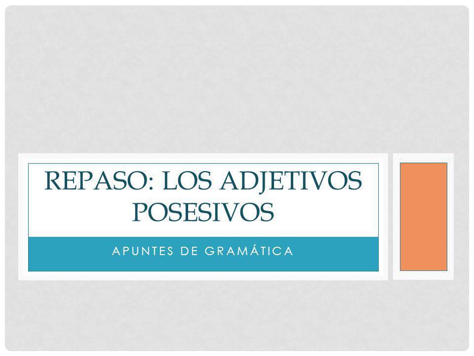 APUNTES DE GRAMÁTICA REPASO: LOS ADJETIVOS POSESIVOS