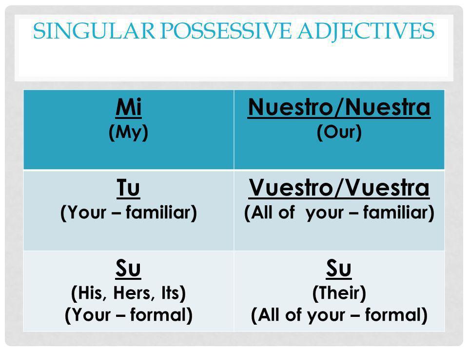 SINGULAR POSSESSIVE ADJECTIVES Mi (My) Nuestro/Nuestra (Our) Tu (Your – familiar) Vuestro/Vuestra (All of your – familiar) Su (His, Hers, Its) (Your –