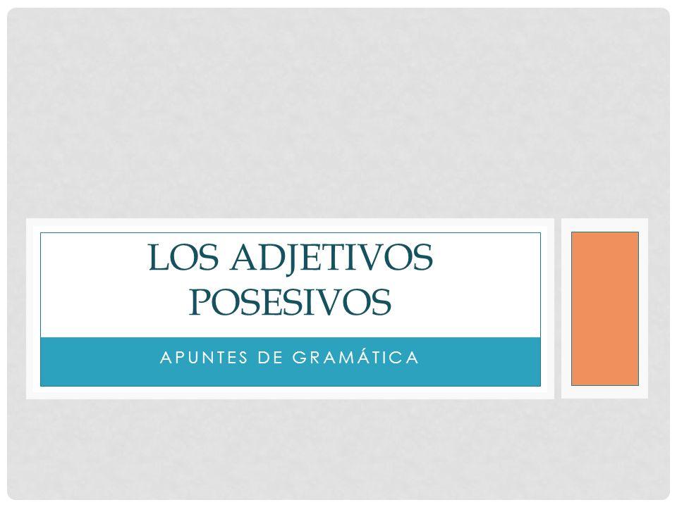 APUNTES DE GRAMÁTICA LOS ADJETIVOS POSESIVOS