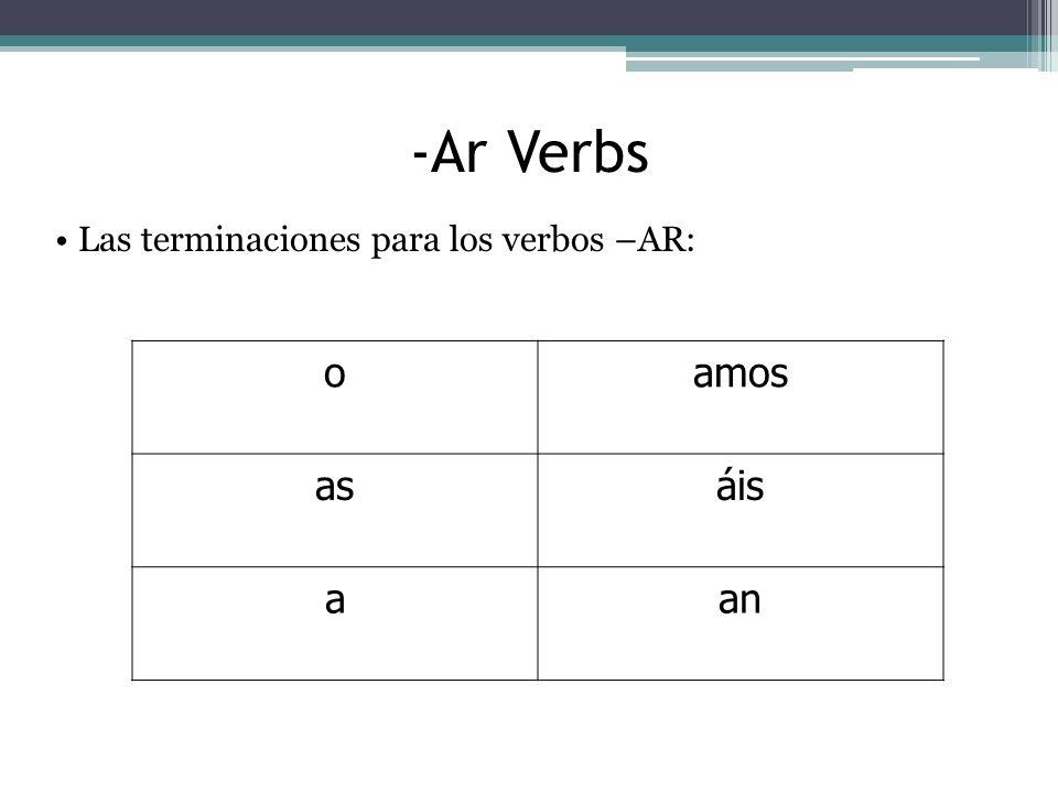 -Ar Verbs oamos asáis aan Las terminaciones para los verbos –AR: