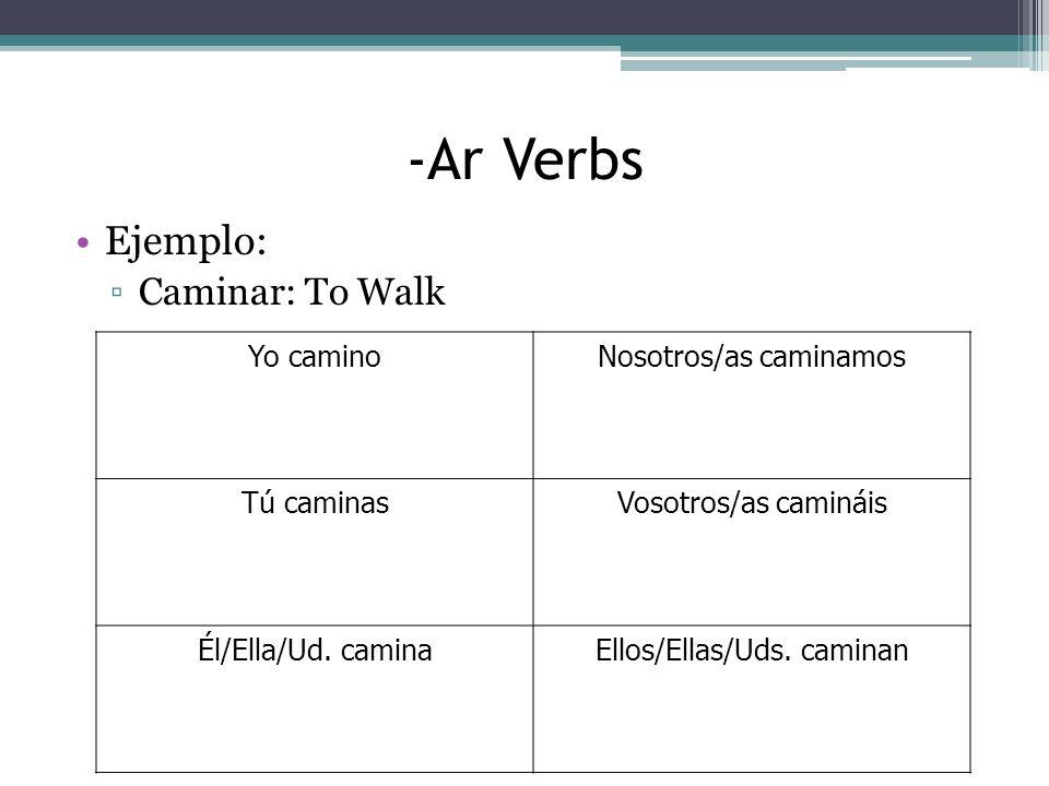 -Ar Verbs Ejemplo: Caminar: To Walk Yo caminoNosotros/as caminamos Tú caminasVosotros/as camináis Él/Ella/Ud.