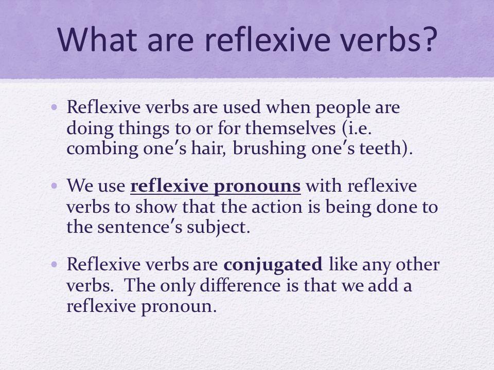 Reflexive Pronouns Here are the subject/reflexive pronoun pairs: Yo: Me Tú: Te Él/Ella/Ud.: Se Nosotros/as: Nos Vosotros/as: Os Ellos/Ellas/Uds.: Se