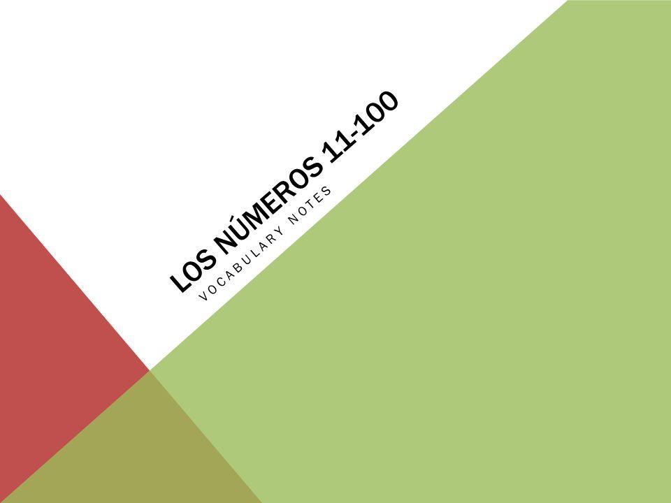 LOS NÚMEROS 11-19 11Once 12Doce 13Trece 14Catorce 15Quince 16Dieciséis 17Diecisiete 18Dieciocho 19Diecinueve