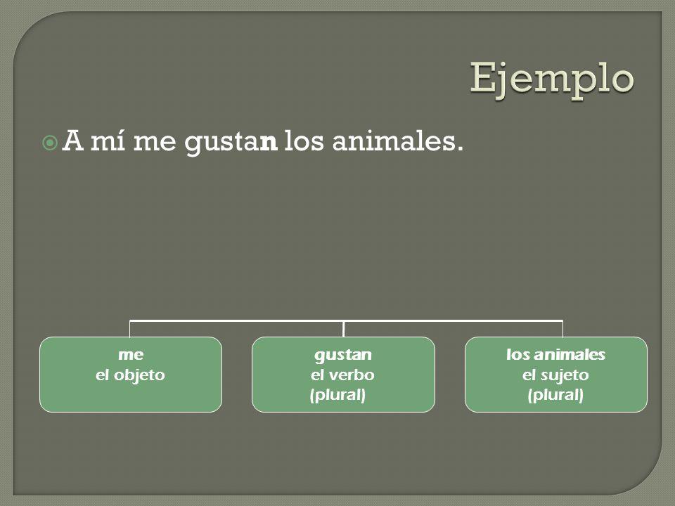 A mí me gustan los animales. me el objeto gustan el verbo (plural) los animales el sujeto (plural)