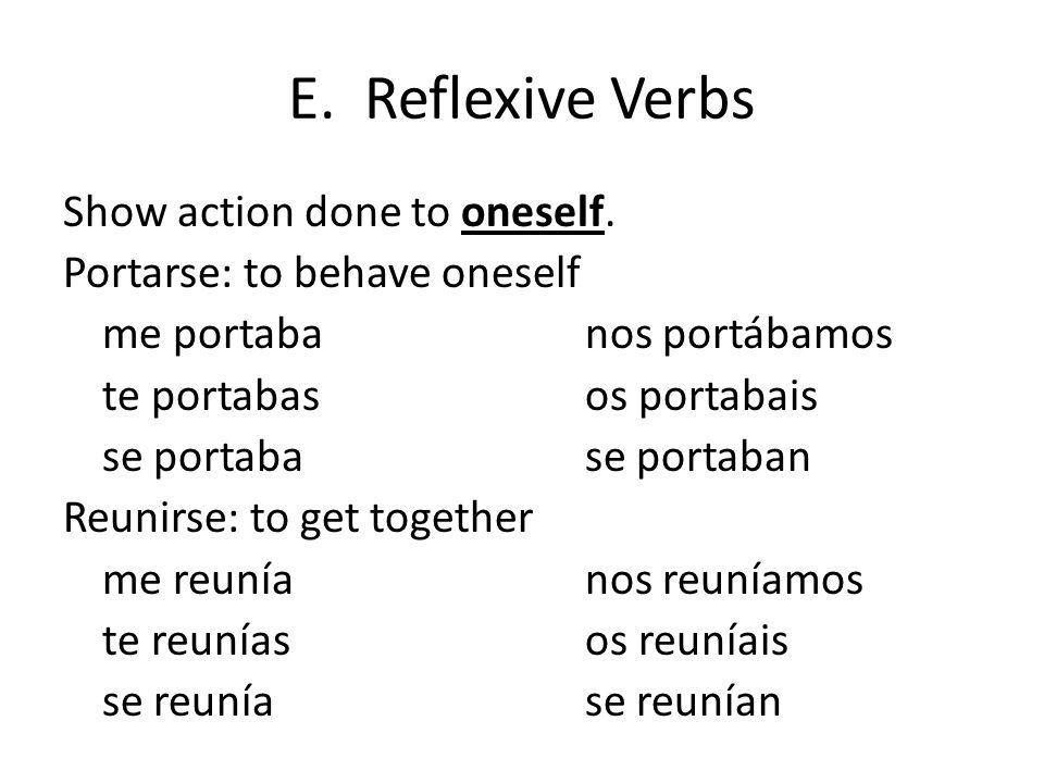 E. Reflexive Verbs Show action done to oneself. Portarse: to behave oneself me portabanos portábamos te portabasos portabais se portabase portaban Reu