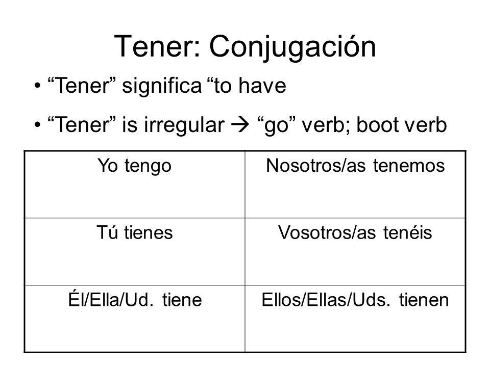 Tener: Conjugación Yo tengoNosotros/as tenemos Tú tienesVosotros/as tenéis Él/Ella/Ud. tieneEllos/Ellas/Uds. tienen Tener significa to have Tener is i