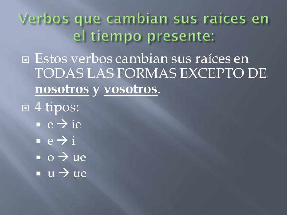 Estos verbos cambian sus raíces en TODAS LAS FORMAS EXCEPTO DE nosotros y vosotros.