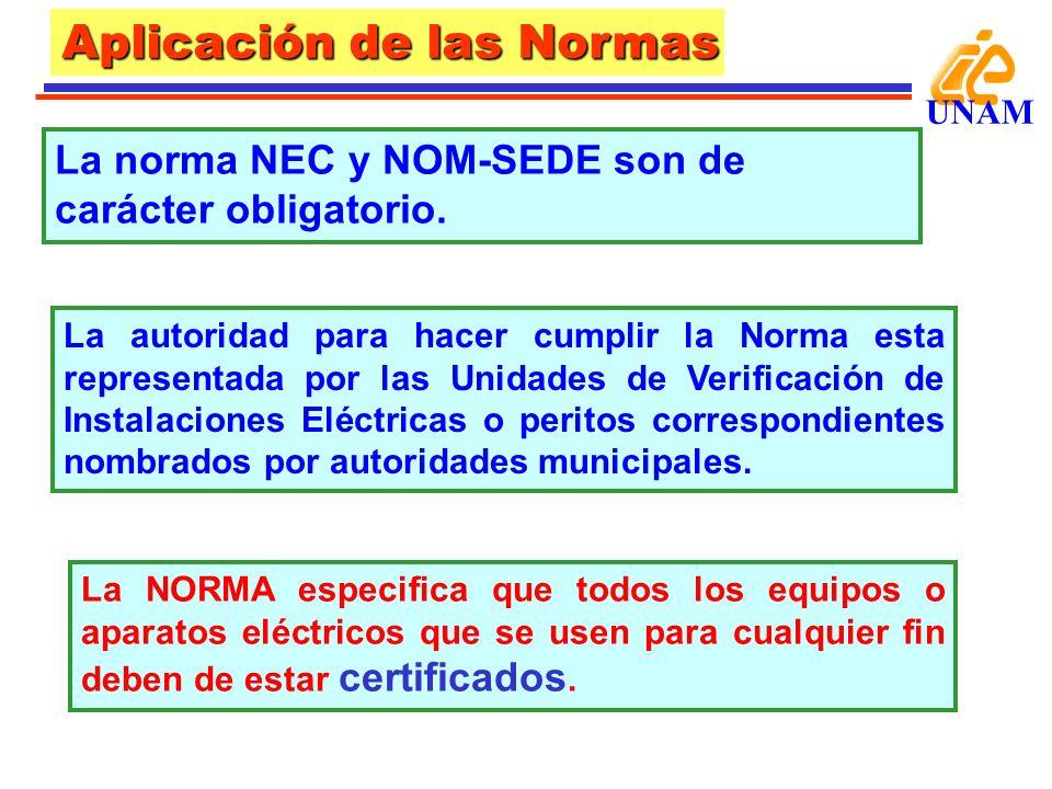 Aplicación de las Normas UNAM Este proceso sólo lo pueden realizar Laboratorios de Ensayo autorizados: UL (Underwrites Laboratories) en USA.