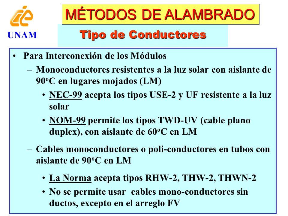 Nomenclatura de Conductores * Ausencia de H significa aislante de 60 o C ** Puede ser cablemonoconductor o de varios conductores UNAM