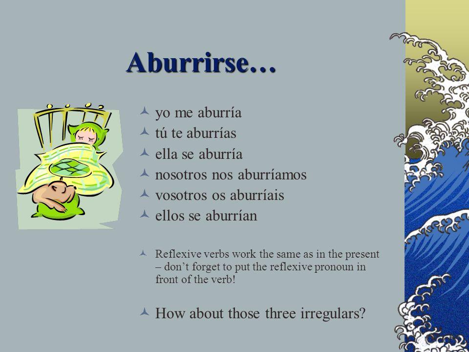 Aburrirse… yo me aburría tú te aburrías ella se aburría nosotros nos aburríamos vosotros os aburríais ellos se aburrían Reflexive verbs work the same as in the present – dont forget to put the reflexive pronoun in front of the verb.