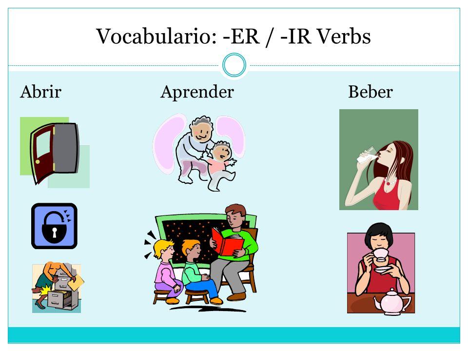 Vocabulario: -ER / -IR Verbs AbrirAprenderBeber