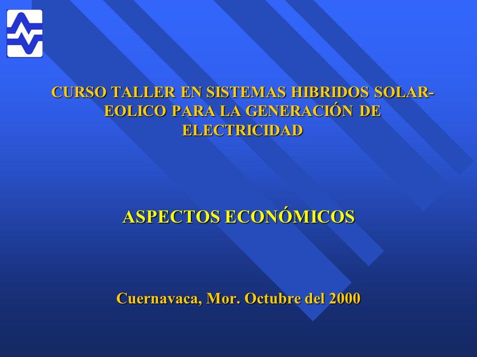 CURSO TALLER EN SISTEMAS HIBRIDOS SOLAR- EOLICO PARA LA GENERACIÓN DE ELECTRICIDAD ASPECTOS ECONÓMICOS Cuernavaca, Mor. Octubre del 2000