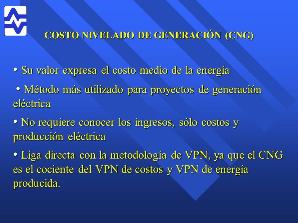 COSTO NIVELADO DE GENERACIÓN (CNG) Su valor expresa el costo medio de la energía Su valor expresa el costo medio de la energía Método más utilizado pa