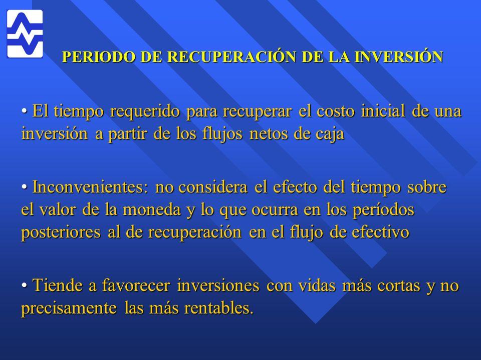 PERIODO DE RECUPERACIÓN DE LA INVERSIÓN El tiempo requerido para recuperar el costo inicial de una inversión a partir de los flujos netos de caja El t