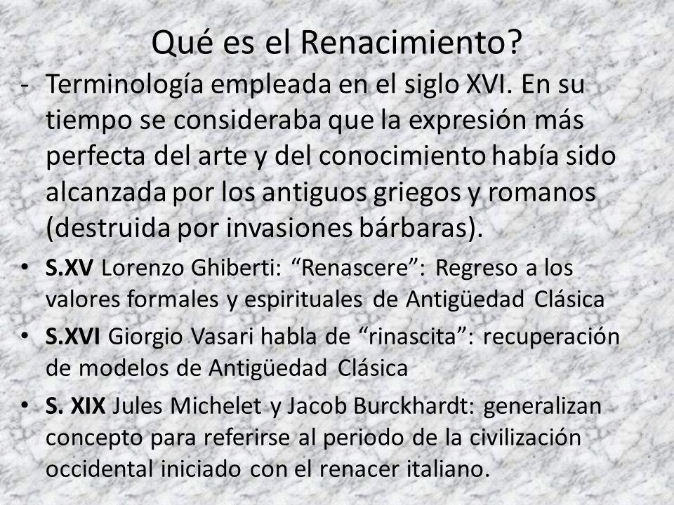 Qué es el Renacimiento? -Terminología empleada en el siglo XVI. En su tiempo se consideraba que la expresión más perfecta del arte y del conocimiento