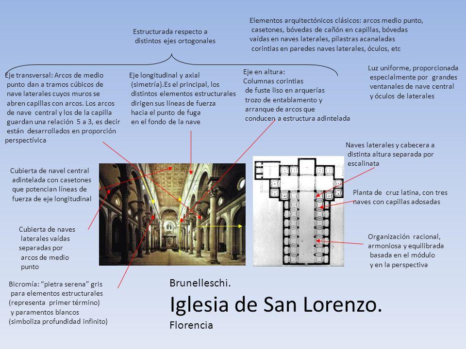 Brunelleschi. Iglesia de San Lorenzo. Florencia Planta de cruz latina, con tres naves con capillas adosadas Organización racional, armoniosa y equilib