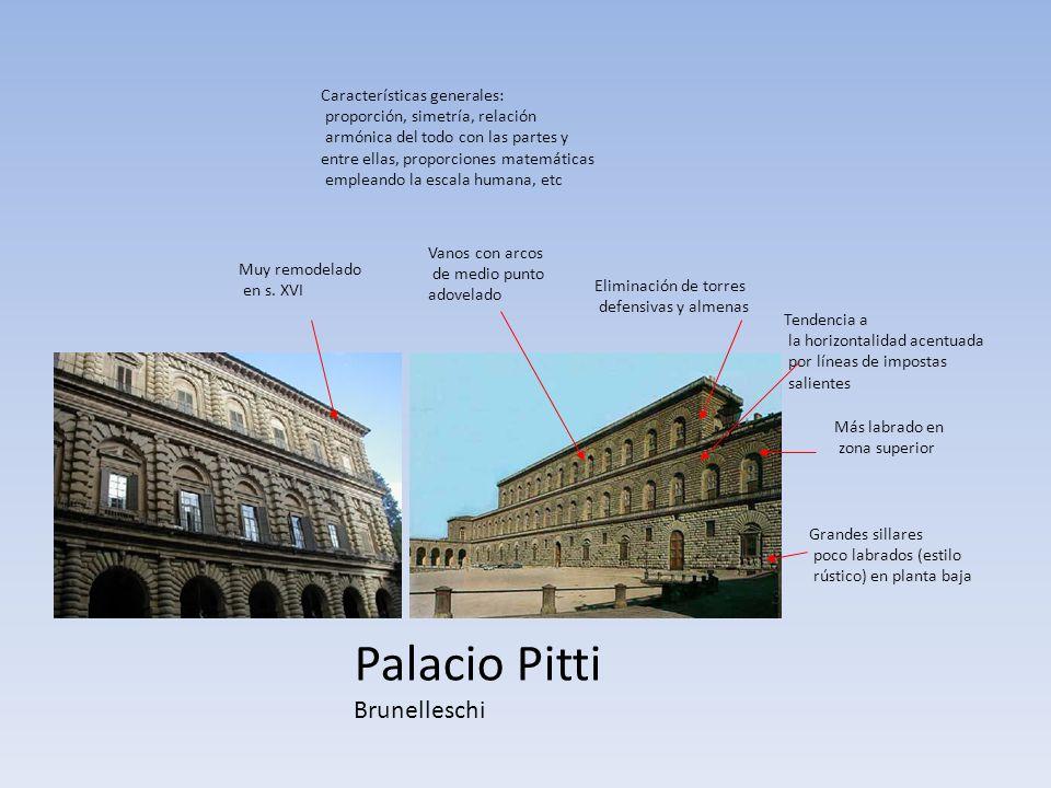 Palacio Pitti Brunelleschi Grandes sillares poco labrados (estilo rústico) en planta baja Más labrado en zona superior Eliminación de torres defensiva