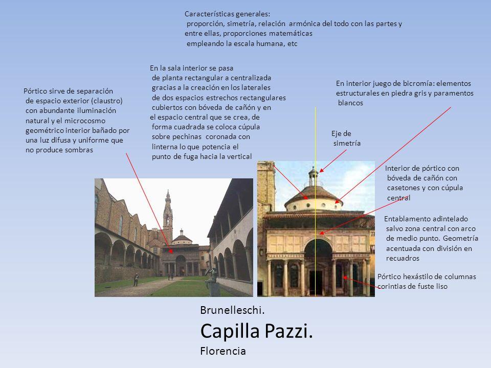 Brunelleschi. Capilla Pazzi. Florencia Pórtico hexástilo de columnas corintias de fuste liso Entablamento adintelado salvo zona central con arco de me