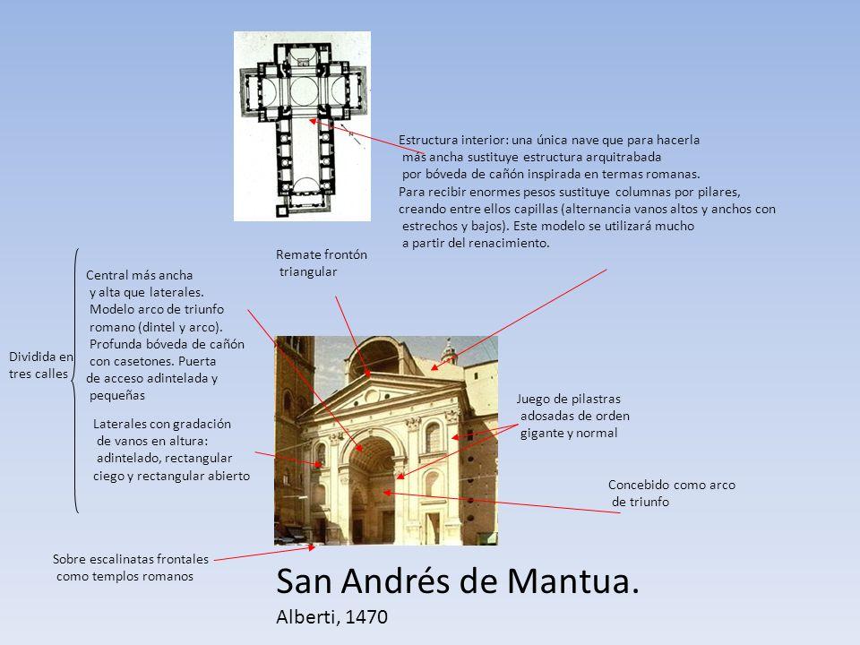San Andrés de Mantua. Alberti, 1470 Concebido como arco de triunfo Sobre escalinatas frontales como templos romanos Dividida en tres calles Central má