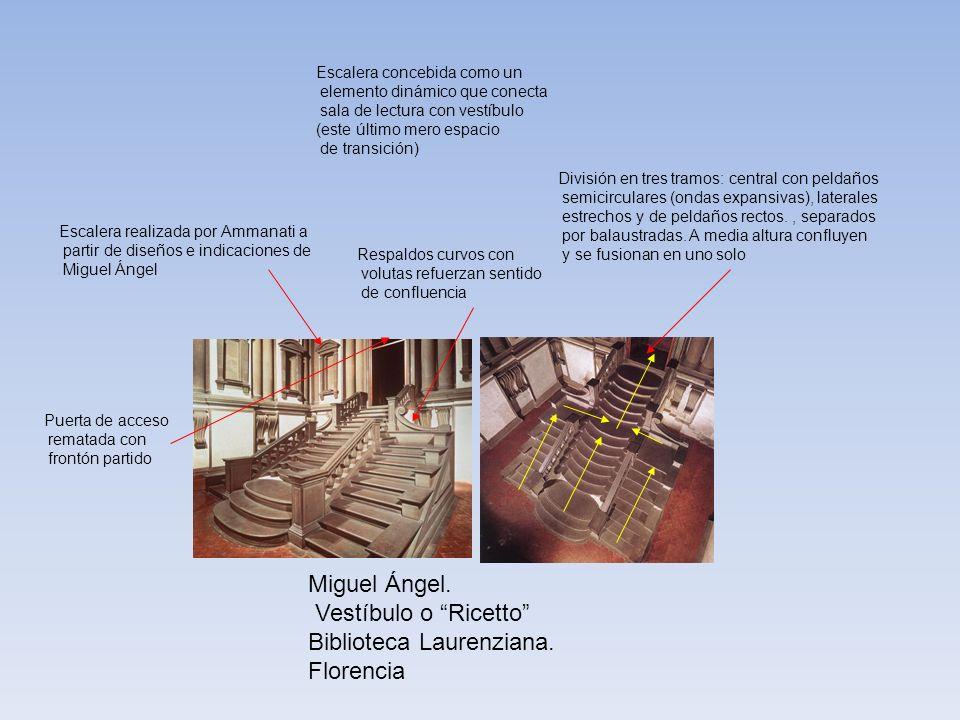 Escalera concebida como un elemento dinámico que conecta sala de lectura con vestíbulo (este último mero espacio de transición) División en tres tramo