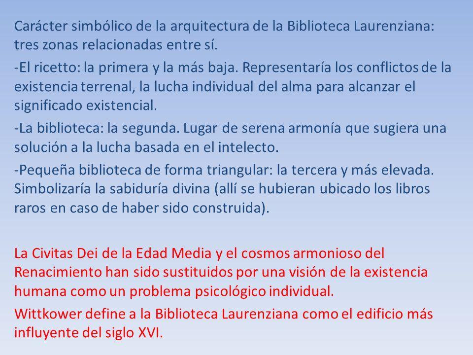 Carácter simbólico de la arquitectura de la Biblioteca Laurenziana: tres zonas relacionadas entre sí. -El ricetto: la primera y la más baja. Represent