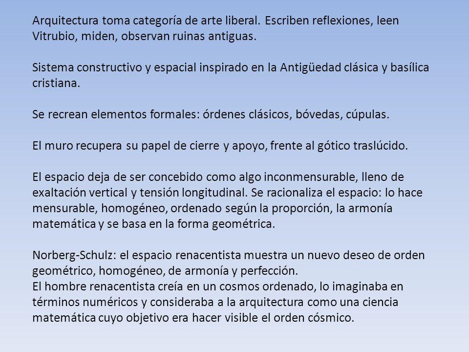 Arquitectura toma categoría de arte liberal. Escriben reflexiones, leen Vitrubio, miden, observan ruinas antiguas. Sistema constructivo y espacial ins