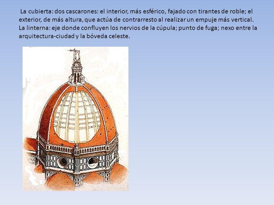 La cubierta: dos cascarones: el interior, más esférico, fajado con tirantes de roble; el exterior, de más altura, que actúa de contrarresto al realiza