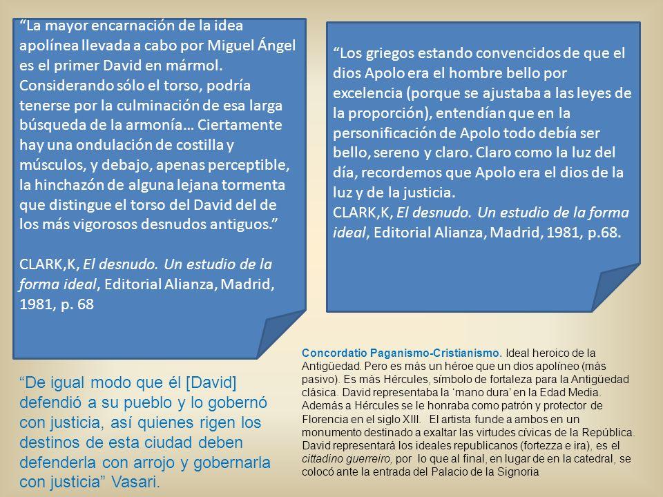 La mayor encarnación de la idea apolínea llevada a cabo por Miguel Ángel es el primer David en mármol. Considerando sólo el torso, podría tenerse por