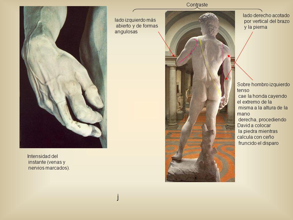 Intensidad del instante (venas y nervios marcados). lado derecho acotado por vertical del brazo y la pierna lado izquierdo más abierto y de formas ang