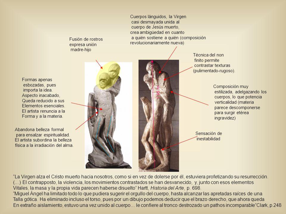 Composición muy estilizada, adelgazando los cuerpos, lo que potencia verticalidad (materia parece descomponerse para surgir etérea ingravidez) Sensaci
