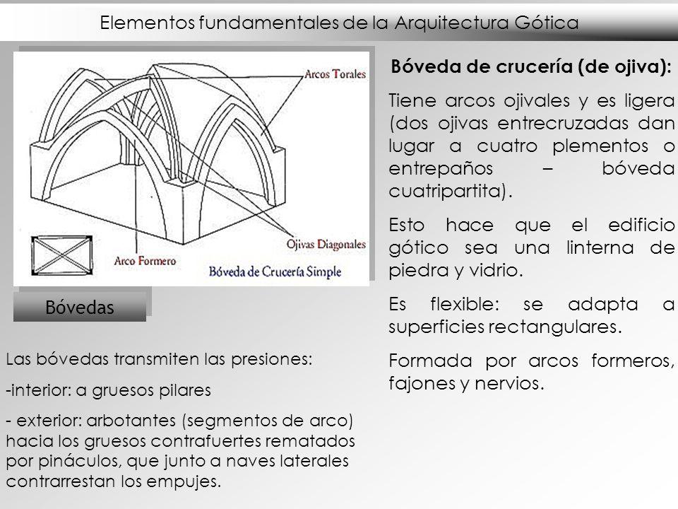 Elementos fundamentales de la Arquitectura Gótica Bóvedas Bóveda de crucería (de ojiva): Tiene arcos ojivales y es ligera (dos ojivas entrecruzadas da