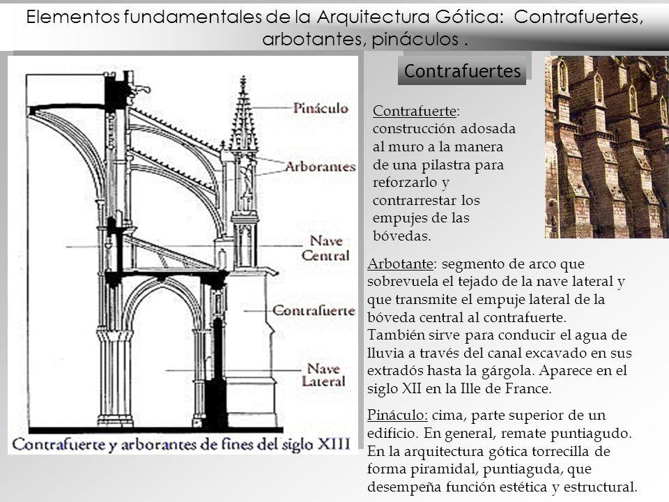 Elementos fundamentales de la Arquitectura Gótica: Contrafuertes, arbotantes, pináculos. Contrafuertes Contrafuerte: construcción adosada al muro a la