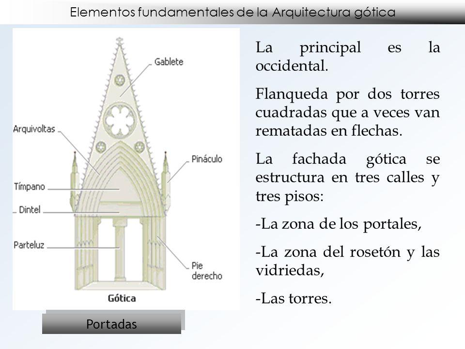 Elementos fundamentales de la Arquitectura gótica Portadas La principal es la occidental. Flanqueda por dos torres cuadradas que a veces van rematadas