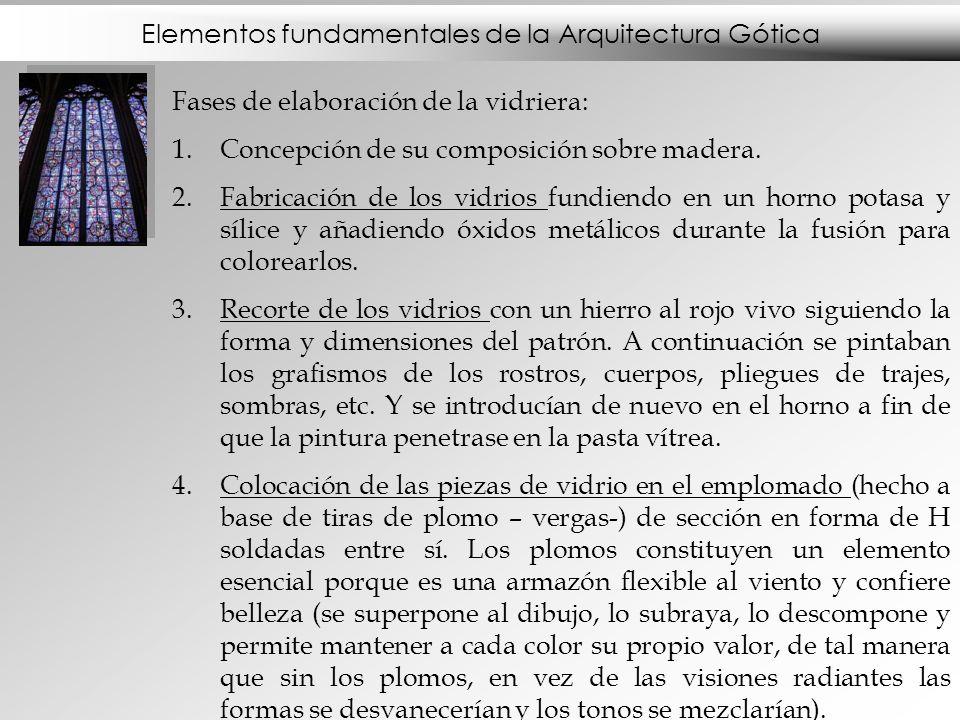 Elementos fundamentales de la Arquitectura Gótica Fases de elaboración de la vidriera: 1.Concepción de su composición sobre madera. 2.Fabricación de l
