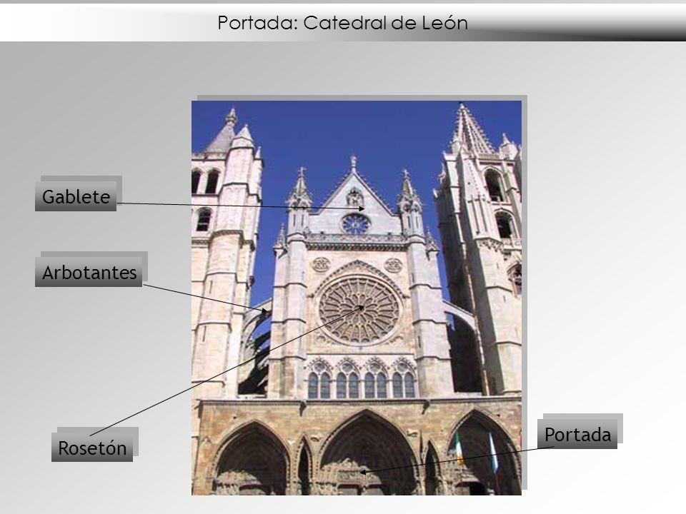 Portada: Catedral de León Rosetón Gablete Portada Arbotantes