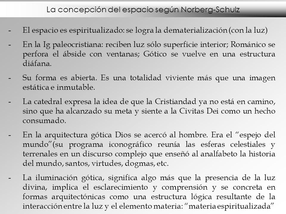 La concepción del espacio según Norberg-Schulz -El espacio es espiritualizado: se logra la dematerialización (con la luz) -En la Ig paleocristiana: re