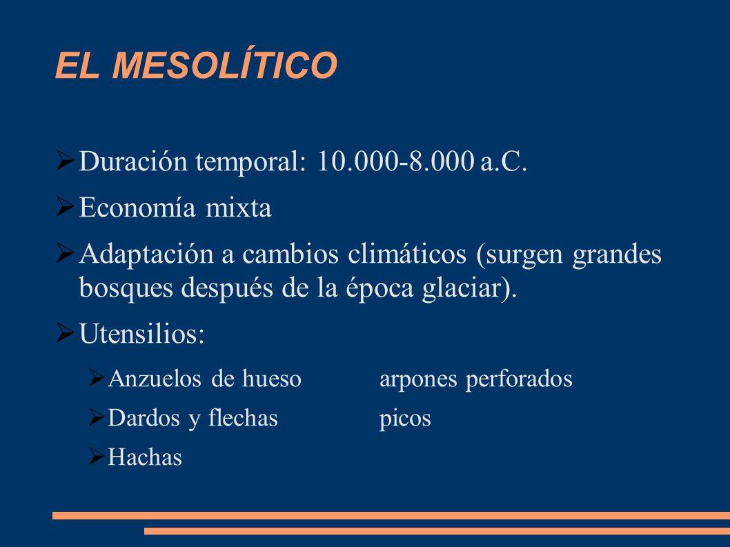 EL MESOLÍTICO Duración temporal: 10.000-8.000 a.C. Economía mixta Adaptación a cambios climáticos (surgen grandes bosques después de la época glaciar)