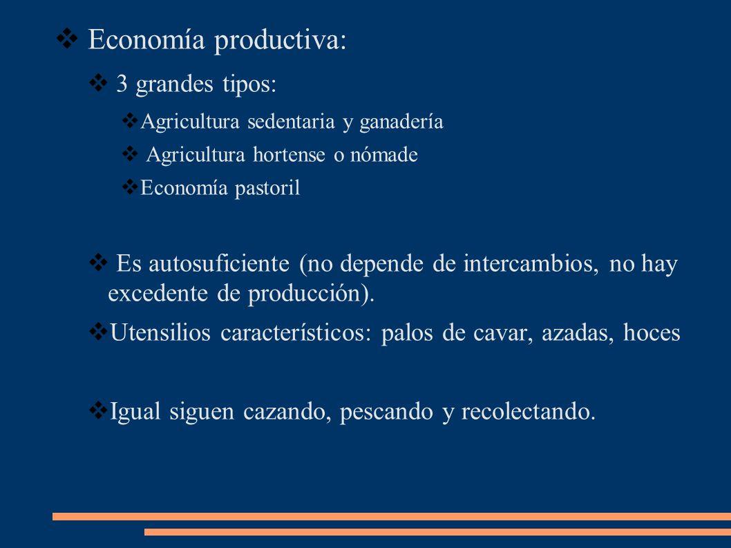 Economía productiva: 3 grandes tipos: Agricultura sedentaria y ganadería Agricultura hortense o nómade Economía pastoril Es autosuficiente (no depende