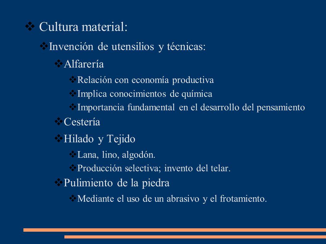 Cultura material: Invención de utensilios y técnicas: Alfarería Relación con economía productiva Implica conocimientos de química Importancia fundamen