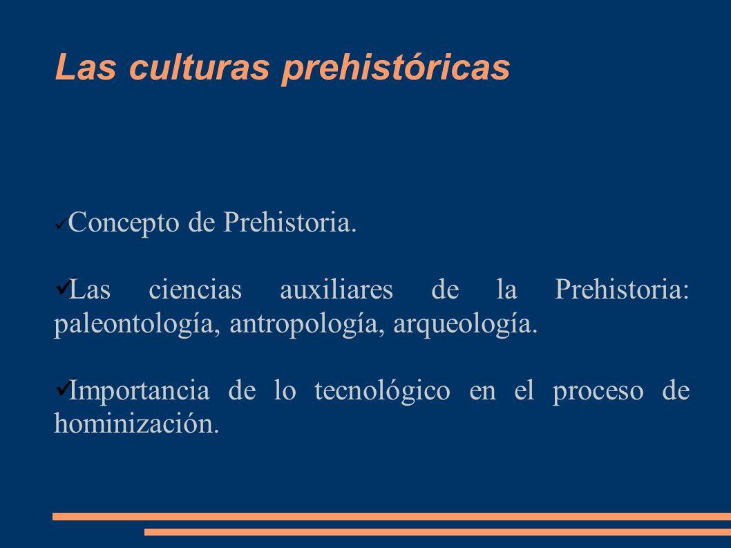 Las culturas prehistóricas Concepto de Prehistoria. Las ciencias auxiliares de la Prehistoria: paleontología, antropología, arqueología. Importancia d