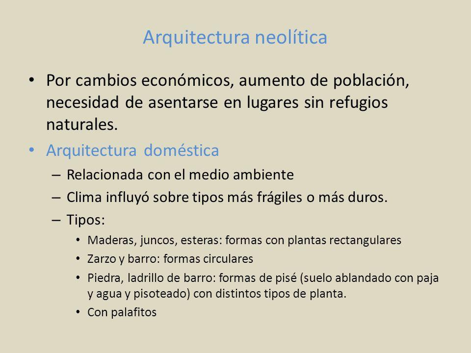 Arquitectura neolítica Por cambios económicos, aumento de población, necesidad de asentarse en lugares sin refugios naturales. Arquitectura doméstica
