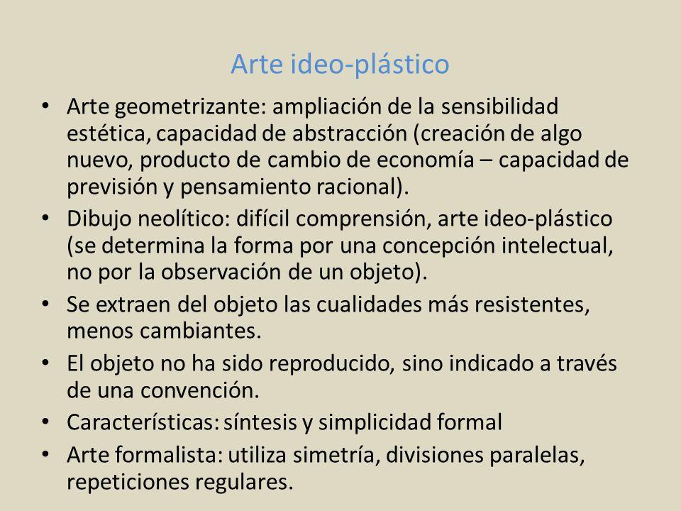 Arte ideo-plástico Arte geometrizante: ampliación de la sensibilidad estética, capacidad de abstracción (creación de algo nuevo, producto de cambio de