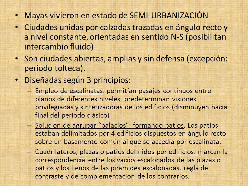Mayas vivieron en estado de SEMI-URBANIZACIÓN Ciudades unidas por calzadas trazadas en ángulo recto y a nivel constante, orientadas en sentido N-S (po