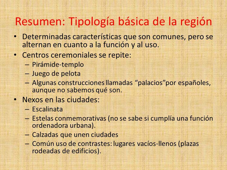 Resumen: Tipología básica de la región Determinadas características que son comunes, pero se alternan en cuanto a la función y al uso. Centros ceremon