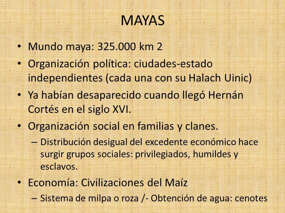 MAYAS Mundo maya: 325.000 km 2 Organización política: ciudades-estado independientes (cada una con su Halach Uinic) Ya habían desaparecido cuando lleg